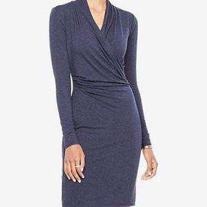 6 Ann Taylor Stretch Blue Faux Wrap Dress